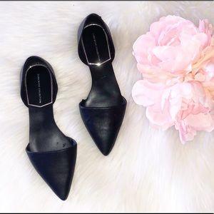 ZARA Black Pointed Toe Vegan Leather Flats